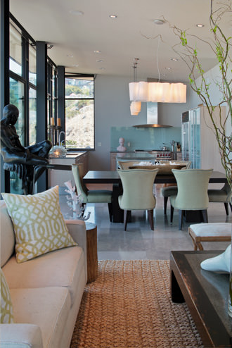 Contemporary interior design, kitchen and dining