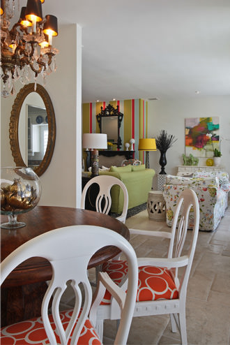 Palm Desert, fabric selections, dining room, living room